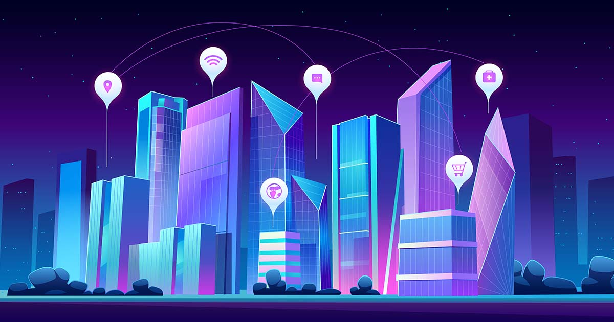 Smart city and infographic icons at night